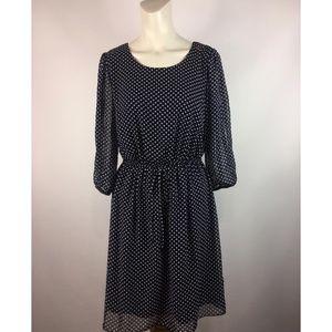 Enfocus Studio Polk A Dot Slit Arm Midi Dress